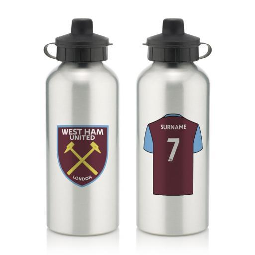 Personalised West Ham United FC Aluminium Water Bottle.