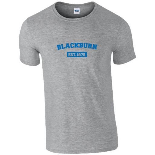 Personalised Blackburn Rovers FC Varsity Established T-Shirt.