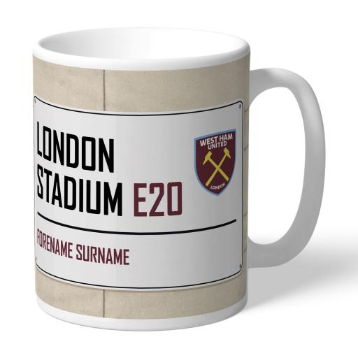 Personalised West Ham United FC Street Sign Mug.