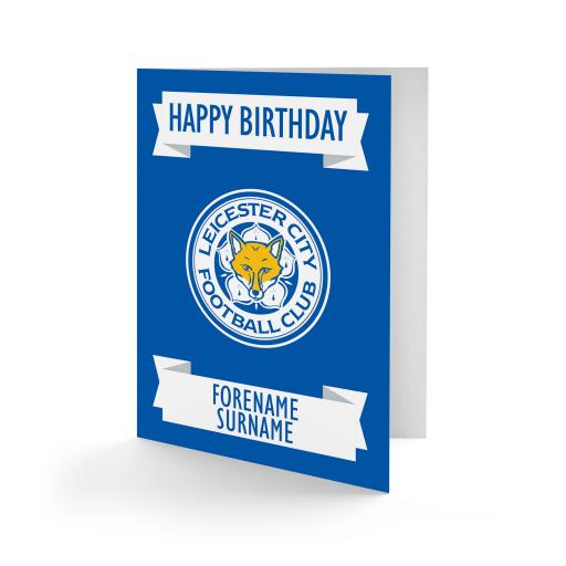 Personalised Leicester City FC Crest Birthday Card.