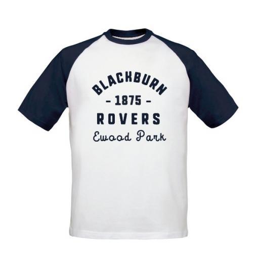 Personalised Blackburn Rovers FC Stadium Vintage Baseball T-Shirt.