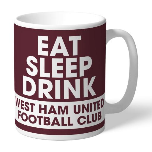 Personalised West Ham United FC Eat Sleep Drink Mug.