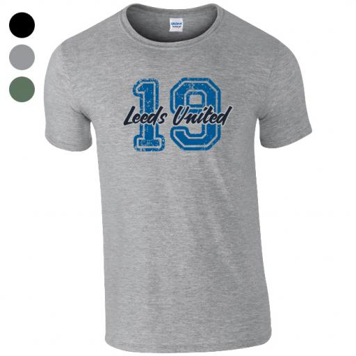 Personalised Leeds United FC Varsity Number T-Shirt.