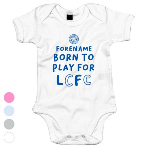 Personalised Leicester City FC Born to Play Baby Bodysuit.