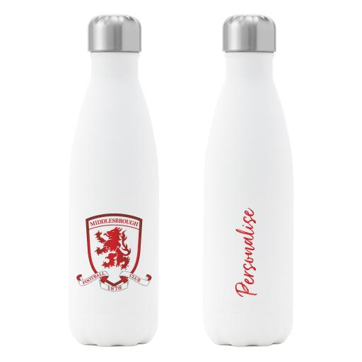 Personalised Middlesbrough FC Crest Insulated Water Bottle - White.