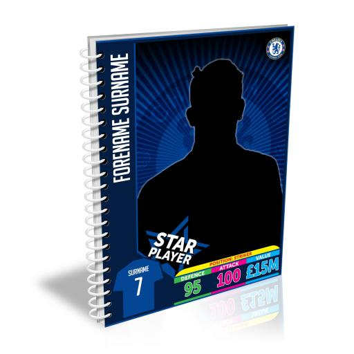 Personalised Chelsea FC Trading Card A5 Lined Notepad.