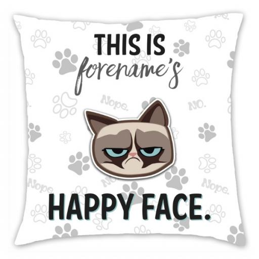 Grumpy Cat Emoji - Happy Face Cushion Grey