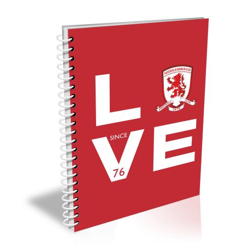 Personalised Middlesbrough Love Notebook.