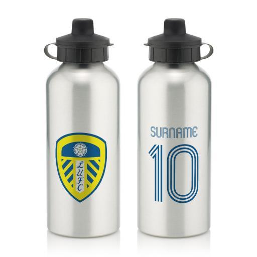 Personalised Leeds United FC Retro Shirt Water Bottle.