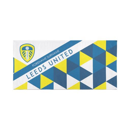 Personalised Leeds United Personalised Towel - Geometric Design - 80 x 160.