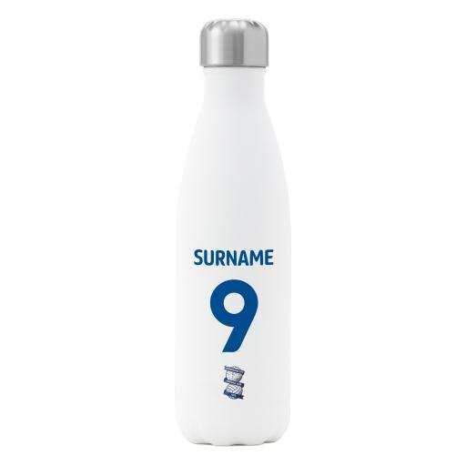 Personalised Birmingham City FC Back of Shirt Insulated Water Bottle - White.