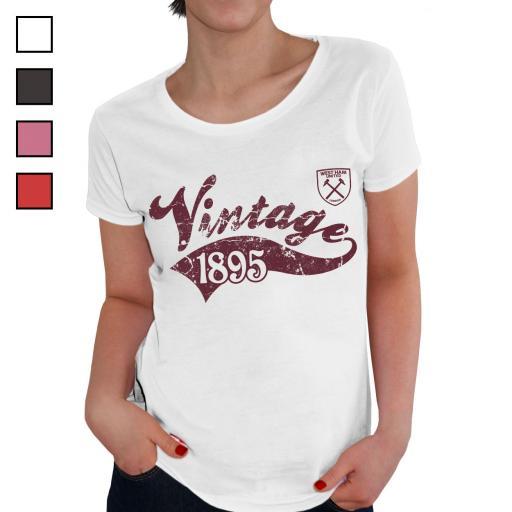 Personalised West Ham United FC Ladies Vintage T-Shirt.