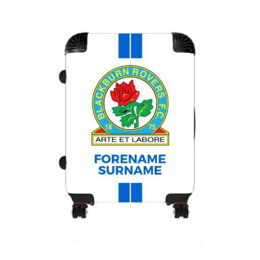 Personalised Blackburn Rovers Stripe Medium Suitcase.