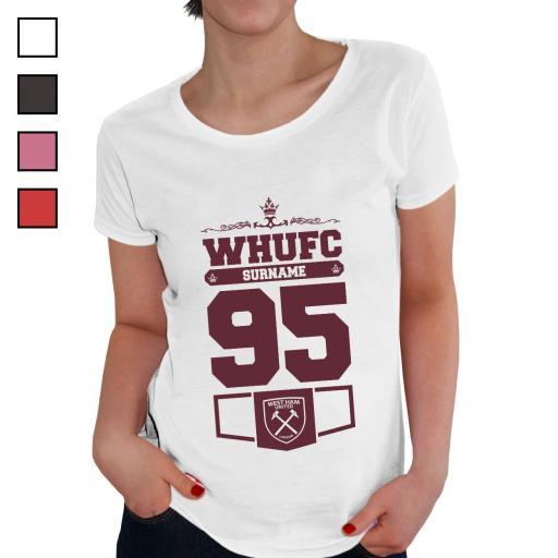 Personalised West Ham United FC Ladies Club T-Shirt.