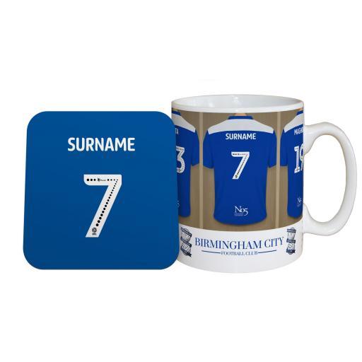 Personalised Birmingham City FC Dressing Room Mug & Coaster Set.