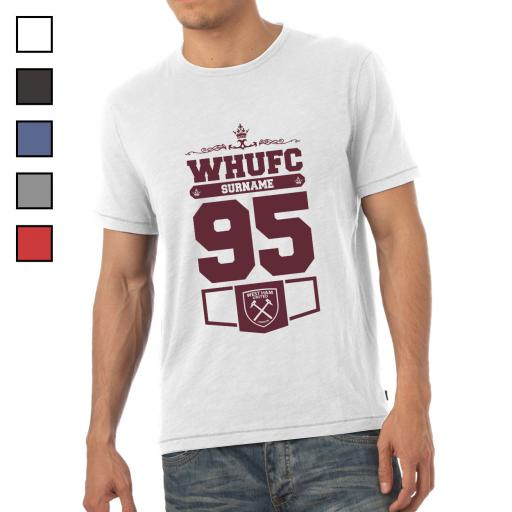 Personalised West Ham United FC Mens Club T-Shirt.