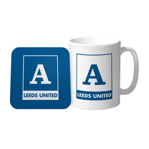 Personalised Leeds United FC Monogram Mug & Coaster Set.