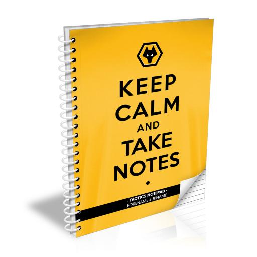 Personalised Wolves Keep Calm Notebook.