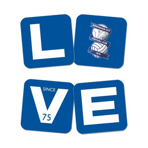 Personalised Birmingham City Love Coasters (x4).