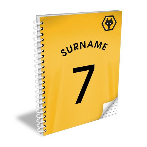 Personalised Wolves Shirt Notebook.
