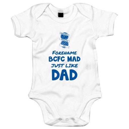 Personalised Birmingham City FC Mad Like Dad Baby Bodysuit.