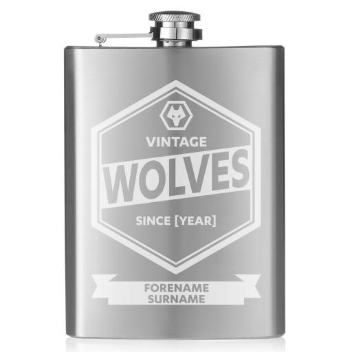 Personalised Wolves Vintage Hip Flask.