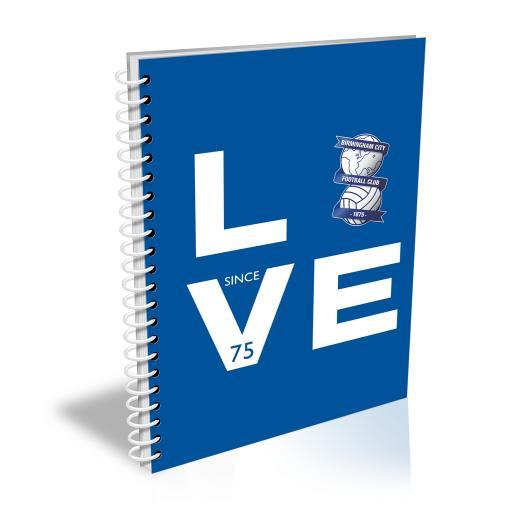 Personalised Birmingham City Love Notebook.