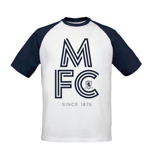 Personalised Middlesbrough FC Stripe Baseball T-Shirt.