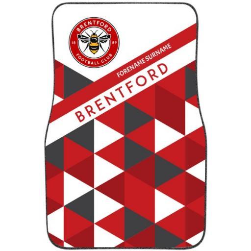 Personalised Brentford FC Patterned Front Car Mat.