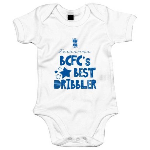 Personalised Birmingham City FC Best Dribbler Baby Bodysuit.