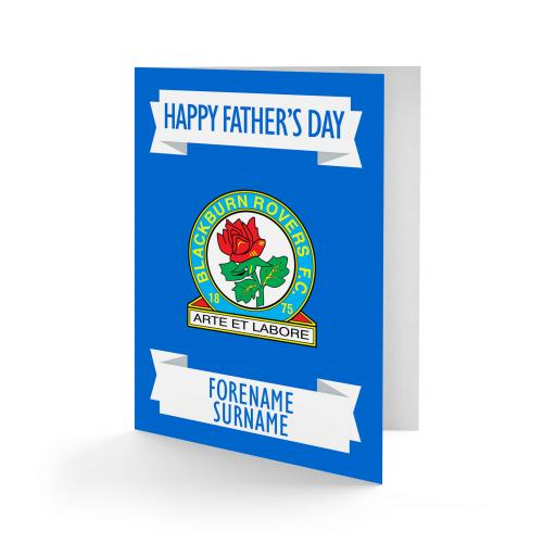 Personalised Blackburn Rovers FC Crest Father's Day Card.