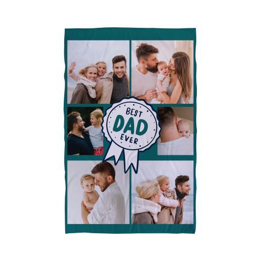 Personalised Best Dad Rosette - 6 Photo - Beach Towel.