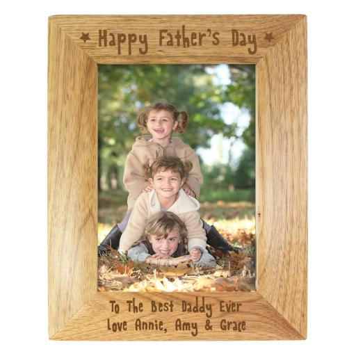 Engraved 5x7 Happy Fathers Day Wooden Frame