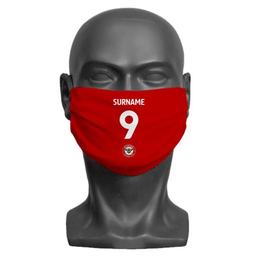 Brentford FC Back of Shirt Adult Face Mask (Medium)