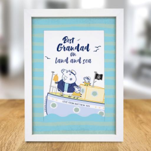 """Personalised Peppa Pigâ""""¢ Best Grandad A4 Framed Print."""