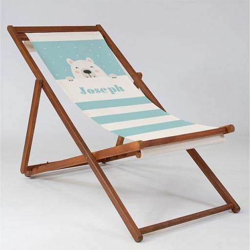 Bear Cub Blue - Baby Deck Chair