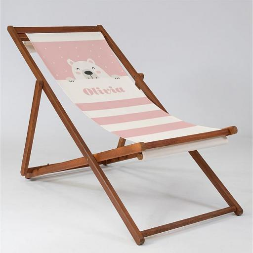 Bear Cub Pink - Baby Deck Chair