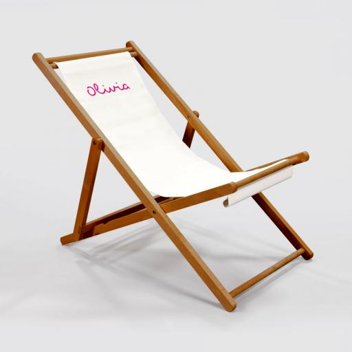 Personalised Deck Chair - Pink on White