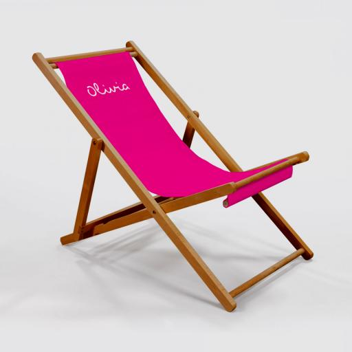 Personalised Deck Chair - White on Pink