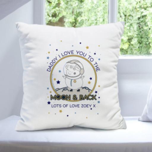 "Personalised Peppa Pigâ""¢ Daddy Moon & Back Cushion."