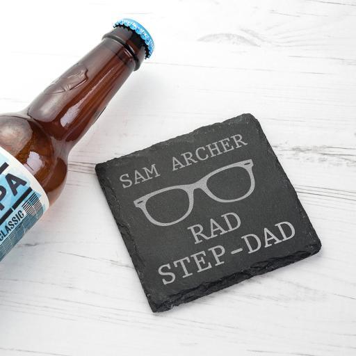 Rad Step Dad' Personalised Square Slate Keepsake