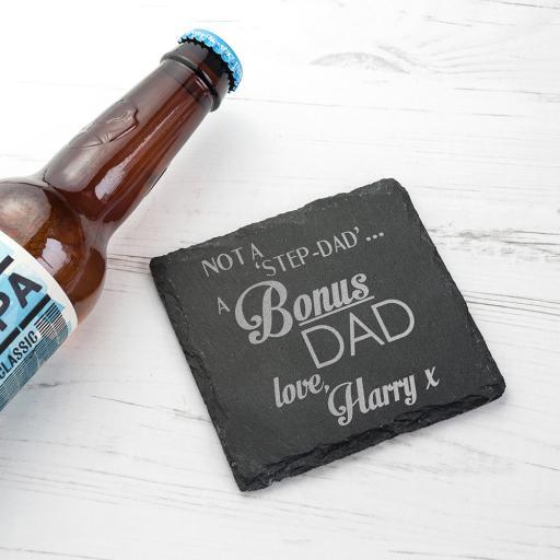 Bonus' Dad Personalised Square Slate Keepsake