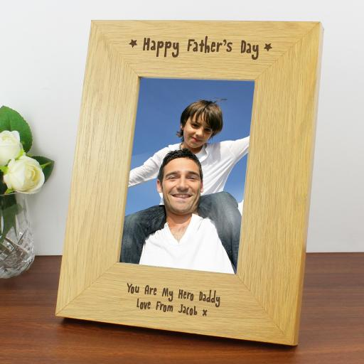 Engraved 6x4 Happy Fathers Day Wooden Frame