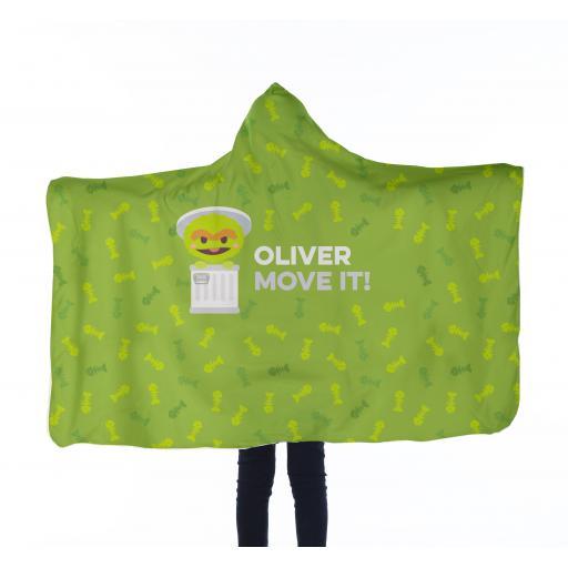 Personalised Kids Hooded Blanket - Oscar Pattern.