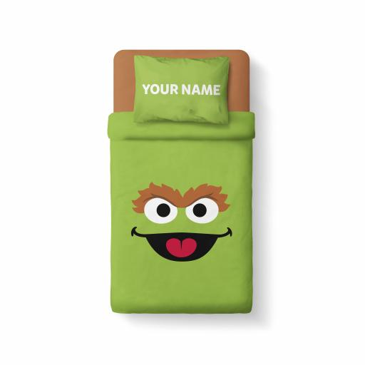 Personalised Sesame Street - Features Oscar The Grouch - Bedding.