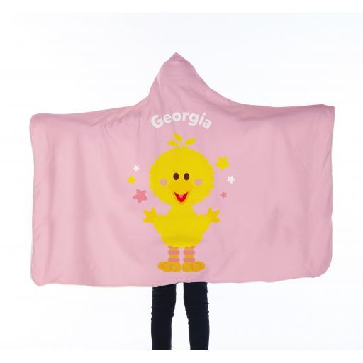 Personalised Kids Hooded Blanket - Big Bird Star Pattern.