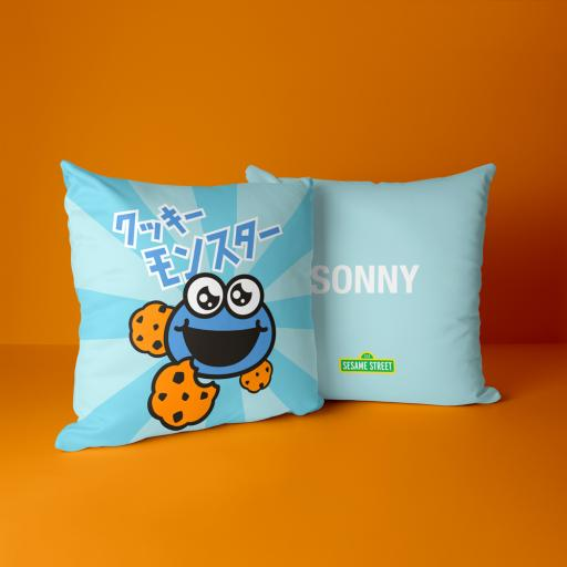 Cookie Monster Personalised Cushion - Anime