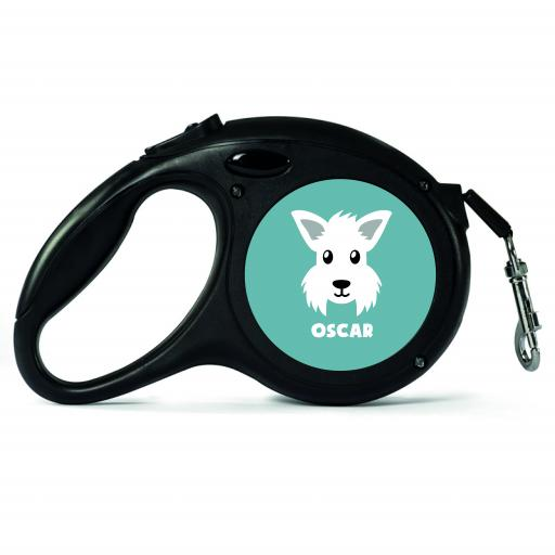 Personalised Westie Retractable Dog Lead - Small