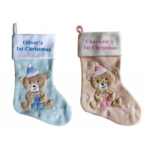 Luxury Deluxe Personalised Embroidered 1st Christmas Boys & Girls Stocking