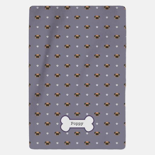 Personalised Apricot Pug Fleece Blanket - Pattern